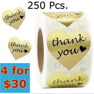 """250- 1.5"""" Heart Shaped Gold Stickers"""